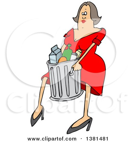 Clipart of a Cartoon Brunette White Woman Carrying a Trash Can - Royalty Free Vector Illustration by djart