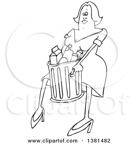 Clipart of a Cartoon Black and White Woman Carrying a Trash Can - Royalty Free Vector Illustration by djart