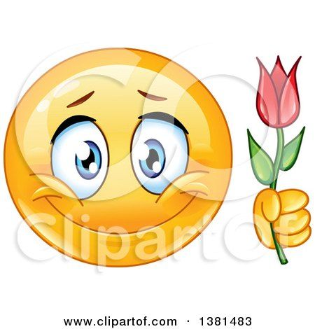 Clipart of a Romantic Yellow Smiley Face Emoticon Emoji Holding a Flower - Royalty Free Vector Illustration by yayayoyo