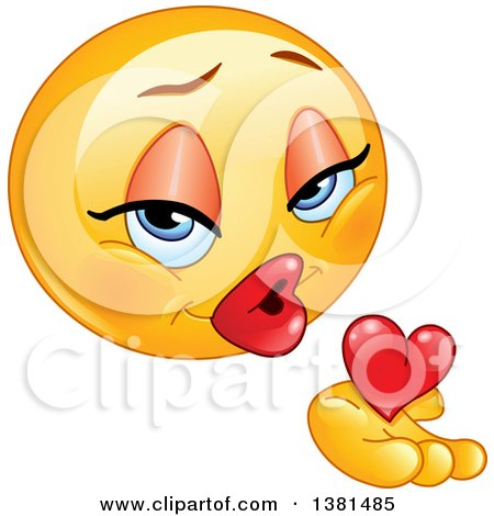 Clipart Of A Romantic Female Yellow Smiley Face Emoticon Emoji Holding A Blowing A Kiss And Heart Royalty Free Vector Illustration