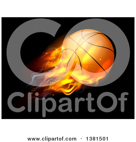 Clipart of a 3d Flying and Blazing Basketball with a Trail of Flames, on Black - Royalty Free Vector Illustration by AtStockIllustration