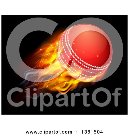 Clipart of a 3d Flying and Blazing Cricket Ball with a Trail of Flames, on Black - Royalty Free Vector Illustration by AtStockIllustration
