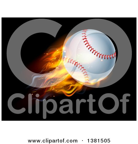 Clipart of a 3d Flying and Blazing Baseball with a Trail of Flames, on Black - Royalty Free Vector Illustration by AtStockIllustration