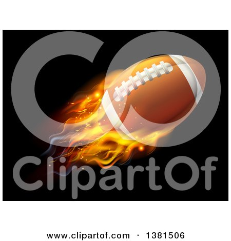 Clipart of a 3d Flying and Blazing American Football with a Trail of Flames, on Black - Royalty Free Vector Illustration by AtStockIllustration