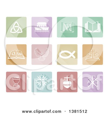 Clipart of White Christian Icons on Colorful Pastel Tiles - Royalty Free Vector Illustration by AtStockIllustration