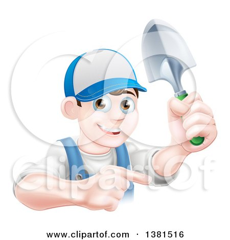 Clipart of a Happy Young Brunette White Male Gardener in Blue, Pointing and Holding a Shovel - Royalty Free Vector Illustration by AtStockIllustration