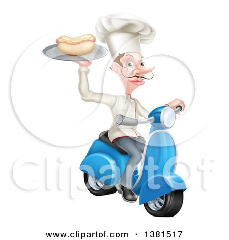 Clipart of a White Male Chef with a Curling Mustache, Holding a Hot Dog on a Scooter - Royalty Free Vector Illustration by AtStockIllustration