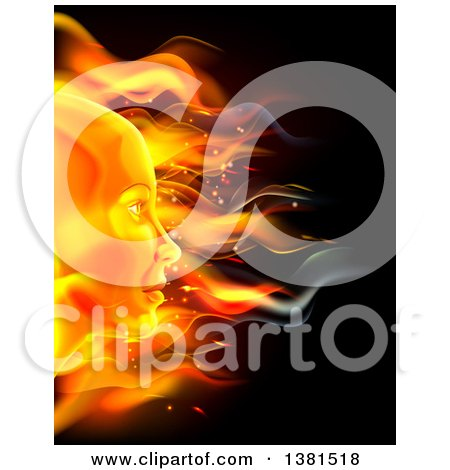 Clipart of a Profiled Woman's Face Made of Fire, over Black - Royalty Free Vector Illustration by AtStockIllustration
