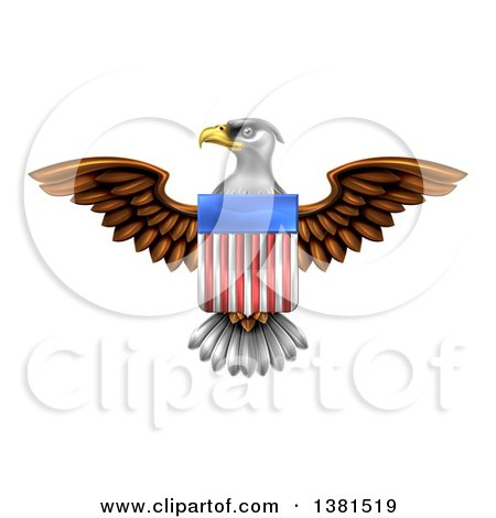 Clipart of a Flying Bald Eagle with an American Flag Shield - Royalty Free Vector Illustration by AtStockIllustration
