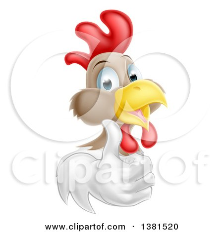 Clipart of a Happy White and Brown Chicken or Rooster Giving a Thumb up - Royalty Free Vector Illustration by AtStockIllustration