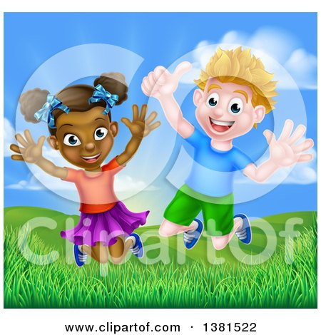 Clipart of a Happy Energetic White Boy and Black Girl Jumping Outside on a Sunny Day - Royalty Free Vector Illustration by AtStockIllustration