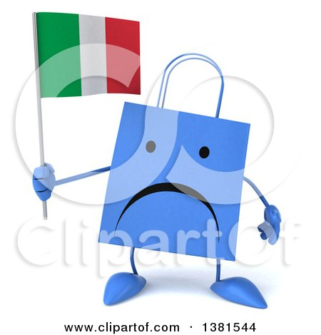 Clipart of a 3d Blue Shopping Bag Character, on a White Background - Royalty Free Illustration by Julos