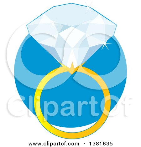 Clipart of a Diamond Ring with a Gold Band over a Blue Circle - Royalty Free Vector Illustration by Maria Bell
