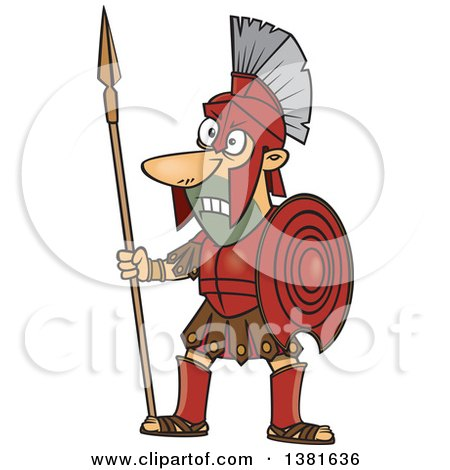 Cartoon Greek God Of War Ares In Full Armor Holding A