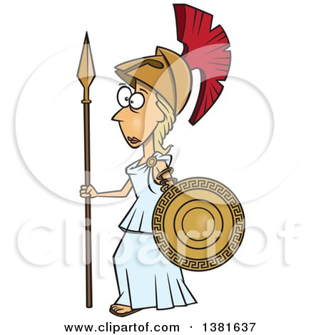 Clipart of a Cartoon Roman Goddess of War, Athena, Holding a Shield and Spear - Royalty Free Vector Illustration by toonaday