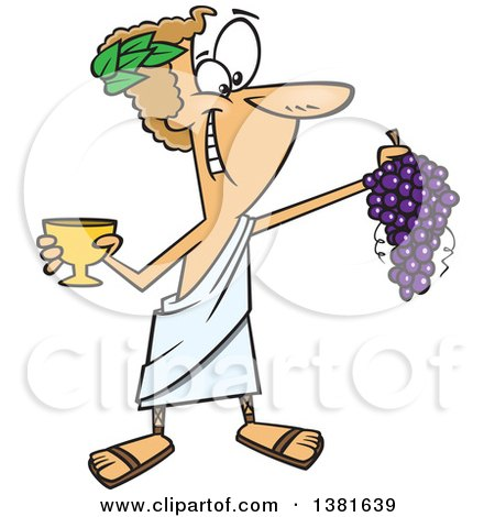 Clipart of a Cartoon Greek God, Dionysus, Holding a Bunch of Grapes and a Goblet - Royalty Free Vector Illustration by toonaday