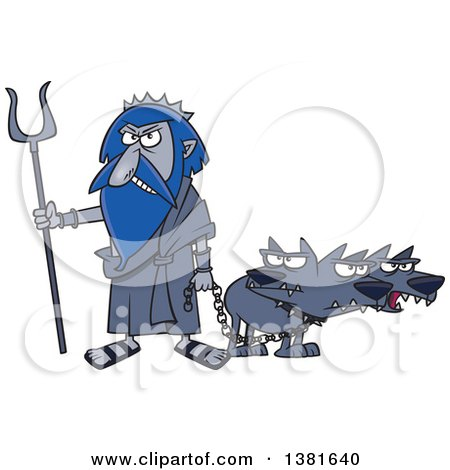Clipart of a Cartoon Greek God, Hades, with His Three Headed Dog, Cerberus - Royalty Free Vector Illustration by toonaday