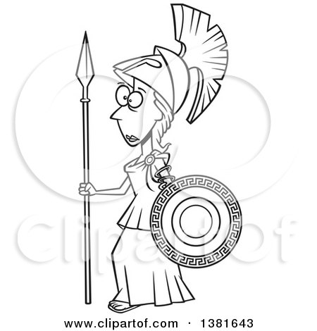 Clipart of a Cartoon Black and White Roman Goddess of War, Athena, Holding a Shield and Spear - Royalty Free Vector Illustration by toonaday