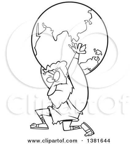 Clipart of a Cartoon Black and White Greek God, Atlas, Carrying Earth - Royalty Free Vector Illustration by toonaday