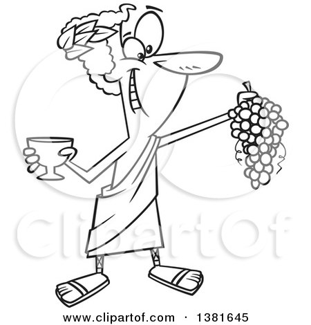 Clipart of a Cartoon Black and White Greek God, Dionysus, Holding a Bunch of Grapes and a Goblet - Royalty Free Vector Illustration by toonaday