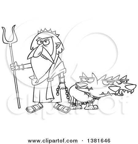 Clipart of a Cartoon Black and White Greek God, Hades, with His Three Headed Dog, Cerberus - Royalty Free Vector Illustration by toonaday