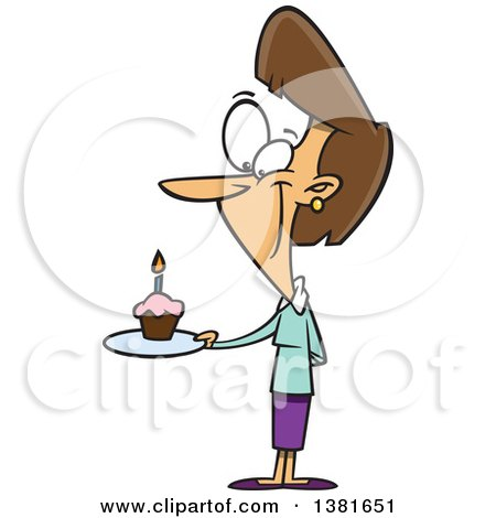Clipart of a Cartoon Happy Brunette White Woman Holding a Birthda Cupcake on a Plate - Royalty Free Vector Illustration by toonaday