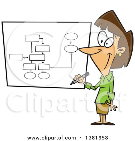 Clipart of a Cartoon Brunette White Business Woman Drawing a Chart for Project Management - Royalty Free Vector Illustration by toonaday
