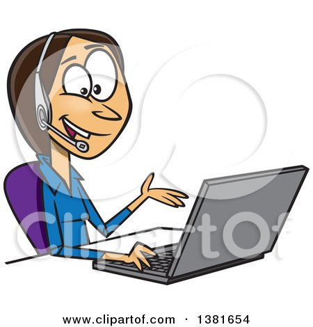 Clipart of a Cartoon Brunette White Business Woman Working on a Laptop and Offering Tech or Customer Service Support - Royalty Free Vector Illustration by toonaday