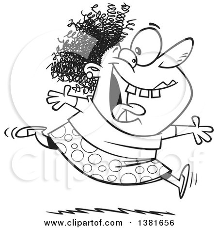 Clipart of a Cartoon Black and White Crazy Woman Running and Leaping on Insanity Day - Royalty Free Vector Illustration by toonaday