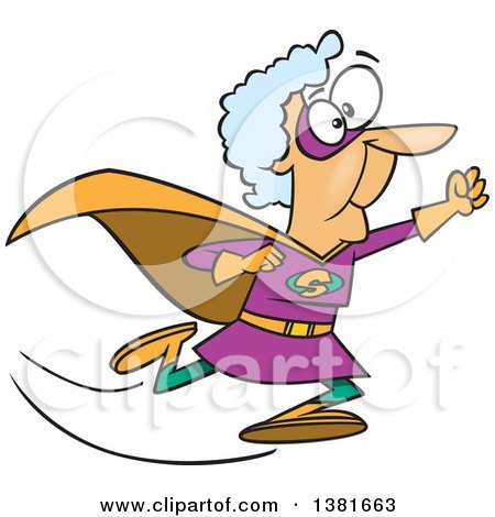 Clipart of a Cartoon Super Caucasian Granny Running to the Rescue - Royalty Free Vector Illustration by toonaday