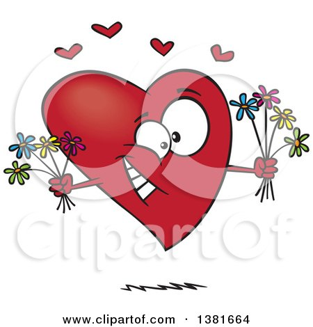 Clipart of a Cartoon Romantic Heart Character Holding Bouquets of Flowers - Royalty Free Vector Illustration by toonaday