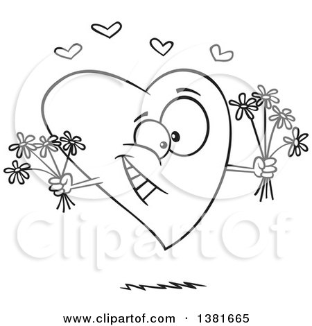 Clipart of a Cartoon Black and White Romantic Heart Character Holding Bouquets of Flowers - Royalty Free Vector Illustration by toonaday