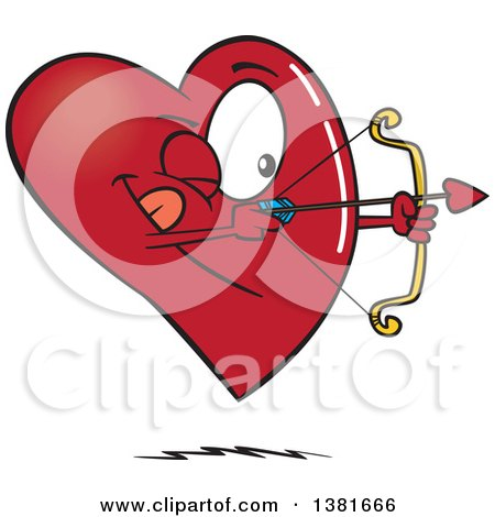 Clipart of a Cartoon Heart Character Shooting an Arrow - Royalty Free Vector Illustration by toonaday