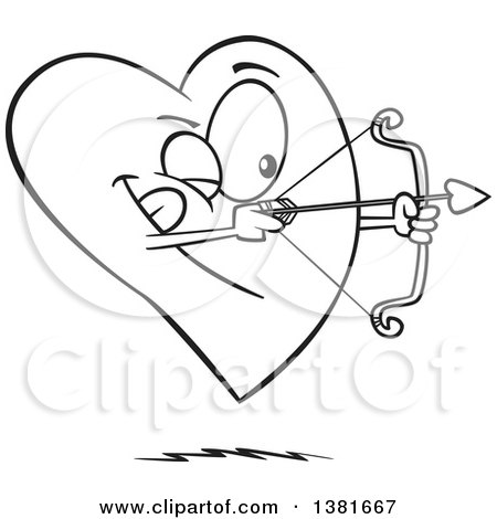 Clipart of a Cartoon Black and White Heart Character Shooting an Arrow - Royalty Free Vector Illustration by toonaday