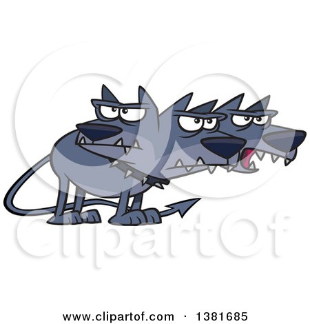 Clipart of a Cartoon Three Headed Dog, Cerberus, the Hound of Hades, from Greek Mythology - Royalty Free Vector Illustration by toonaday