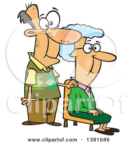 Clipart of a Cartoon Happy White Senior Couple, the Wife Sitting and Man Standing - Royalty Free Vector Illustration by toonaday
