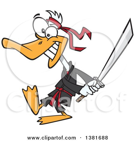 Clipart of a Cartoon Ninja Duck in Black, Swinging a Katana Sword - Royalty Free Vector Illustration by toonaday