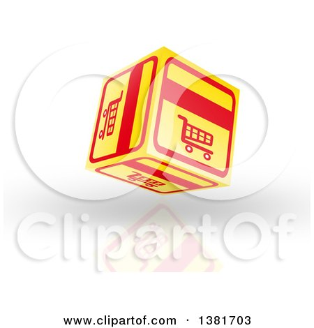 Clipart of a 3d Yellow and Red Floating Shopping Cart Icon Cube over Shading and a Reflection - Royalty Free Illustration by MacX