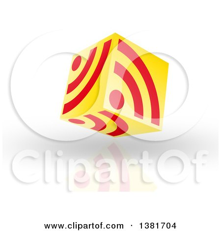 Clipart of a 3d Yellow and Red Floating RSS Icon Cube over Shading and a Reflection - Royalty Free Illustration by MacX