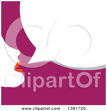 Clipart of a Silhouetted Woman Talking over Purple - Royalty Free Vector Illustration by ColorMagic