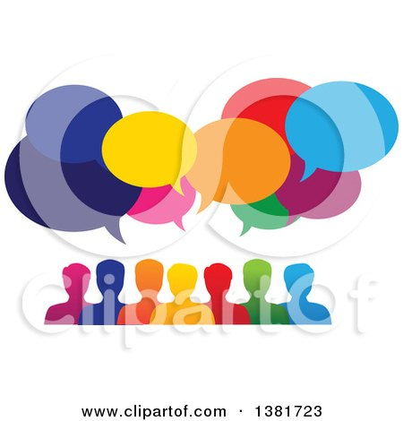 Clipart of a Colorful Group of People with Speech Balloons - Royalty Free Vector Illustration by ColorMagic