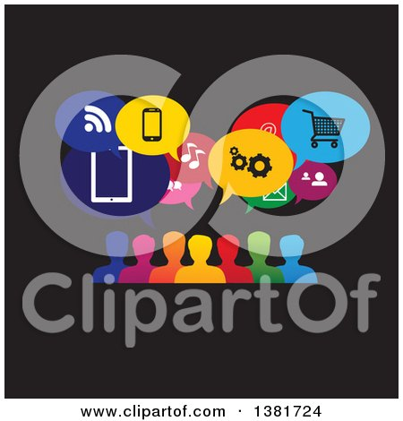 Clipart of a Colorful Group of People with Icon Speech Balloons on Black - Royalty Free Vector Illustration by ColorMagic