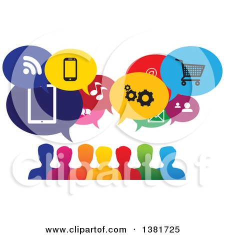 Clipart of a Colorful Group of People with Icon Speech Balloons - Royalty Free Vector Illustration by ColorMagic