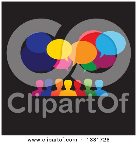 Clipart of a Colorful Group of People with Speech Balloons over Black - Royalty Free Vector Illustration by ColorMagic