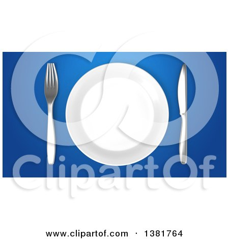Clipart of a 3d Plate and Silverware on a Blue Background - Royalty Free Illustration by Julos