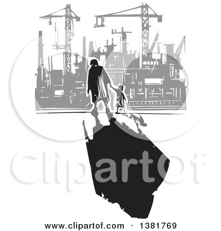 Clipart of a Black and White Woodcut Senior Woman Walking with a Grandchild and a Dark Shadow near a Gray Factory - Royalty Free Vector Illustration by xunantunich