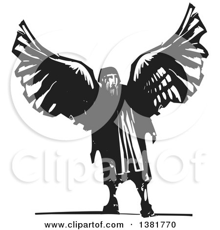 Clipart of a Craftsman, Artist, and Inventor, Daedalus from Greek Mythology, Wearing Wings - Royalty Free Vector Illustration by xunantunich