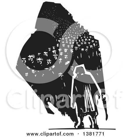 Clipart of a Black and White Woodcut Senior Woman Walking with a Dark Shadow of Refugees - Royalty Free Vector Illustration by xunantunich
