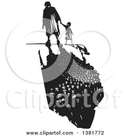 Clipart of a Black and White Woodcut Senior Woman Walking with a Grandchild and a Dark Shadow of Refugees - Royalty Free Vector Illustration by xunantunich