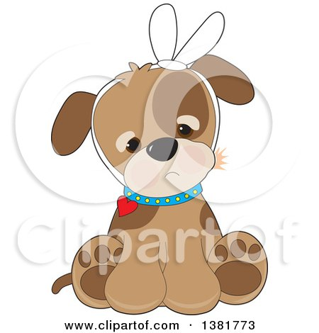 Clipart of a Cute Puppy Dog Sitting with a Bandage and a Tooth Ache - Royalty Free Vector Illustration by Maria Bell